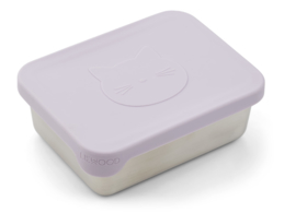 Liewood Lunchtrommel RVS Ako Lunchbox - Cat Light Lavender