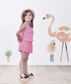 Lilipinso Flamingo Plantjes - Muursticker (A3) (S1042)