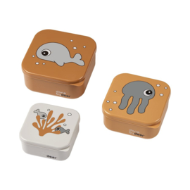 Done by Deer Snackbox Sea Friends - Mosterd/grijs (set van 3)