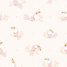 Lilipinso Behang Sample Paradisio Behang - Pastel Toucan Pink Mood