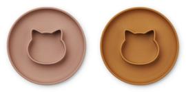 Liewood Siliconen bord met geïntegreerde kom Gordon - Cat Dark Rose / Mustard Mix (set van 2)