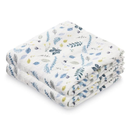 CamCam Hydrofiele Doek Muslin - Pressed Leaves Blue (set van 2)