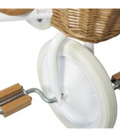 Banwood Trike Driewieler - Wit (incl. rieten mandje en duwstang)