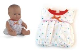 Miniland Poppen Pyjama wit met stippen - (21 cm)