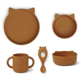 Liewood Siliconen Baby Kinderservies Set Vivi - Cat Mustard