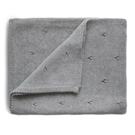 Mushie Deken Knitted Pointelle Baby Blanket - Gray Melange