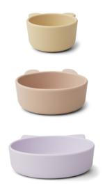 Liewood Eddie Silicone Bowl Kom Set - Light Lavender Multi Mix (set van 3)