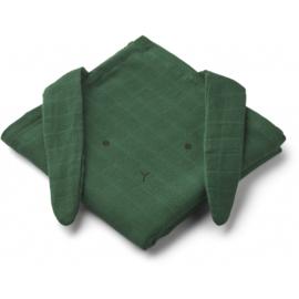 Liewood Hydrofiele Doek Konijn Muslin Cloth Rabbit - Garden Green (set van 2)