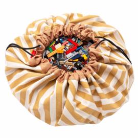 Play and Go Speelgoedkleed en opbergzak - Strepen Mosterd Geel