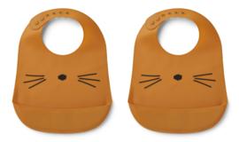 Liewood Tilda Bib Siliconen Slab - Cat Mustard (set van 2)