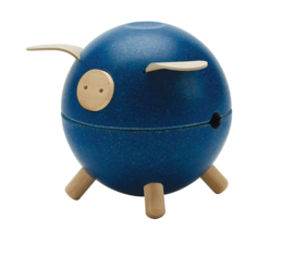 Plantoys Houten Spaarvarken - Blauw + 3jr