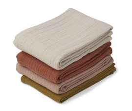 Liewood Leon Muslin Cloth Hydrofiele Doeken - Rose Multi Mix (set van 4)