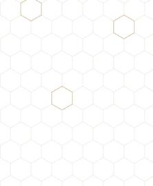 Bibelotte Behang Honinggraat - Wit - Nude/Brons