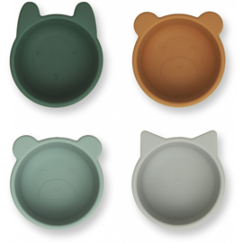 Liewood Malene Silicone Mini Bowl Kommetjes - Green Multi Mix (set van 4)