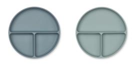 Liewood Siliconen Bord Harvey Divider - Whale Blue Mix (set van 2)