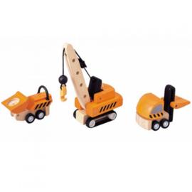 Plantoys Houten Auto Bouwvoertuigen - Oranje (set van 3)