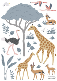Lilipinso Tanzania Muurstickers A3 - Tanzania Giraf & Co
