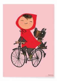 Kek Amsterdam Poster A2 - Fiep Westendorp Op de Fiets (roze) (PS-007)