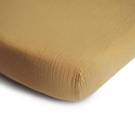 Mushie Hoeslaken Extra Soft Muslin Crib Sheet - Fall Yellow