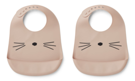 Liewood Tilda Bib Siliconen Slab - Cat Rose (set van 2)