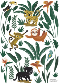 Lilipinso Jungle Night Muursticker A3 - Jungle Animals