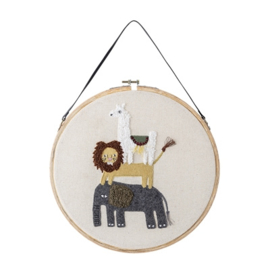 Bloomingville Geborduurde Hoepel Wall Decoratie Wall Hoop - Safari