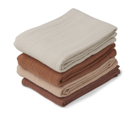 Liewood Leon Muslin Cloth Hydrofiele Doeken - Rose Mix (set van 4)