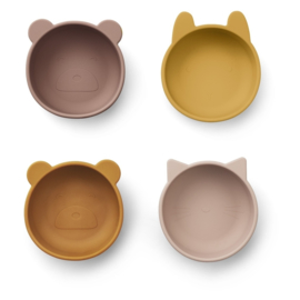 Liewood Iggy Silicone Bowl Kom - Rose Mix (set van 4)