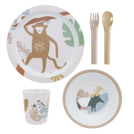 Sebra Melamine Dinner Set Wildlife - Sunset Pink