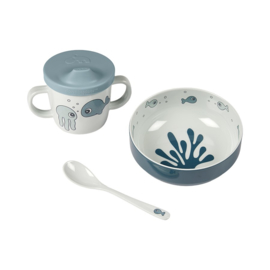 Done by Deer Cadeauset Kinderservies First Meal Sea Friends - Blauw