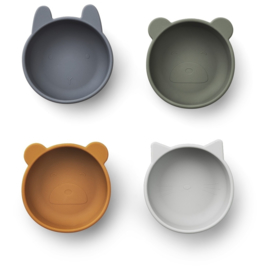 Liewood Iggy Silicone Bowl Kom - Blue Mix (set van 4)
