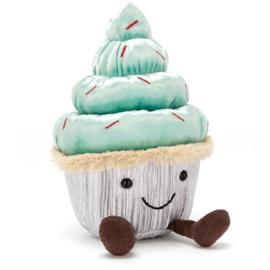 Jellycat Kerst Collectie Minty Cutie Cupcake - Knuffel Cupcake (19 cm)