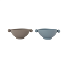OYOY Tiny Inka Bowl Kommetje - Dusty Blue/Clay (set van 2)
