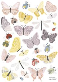 Lilipinso Countryside Muurstickers A3 - Vlinders en Kevertjes