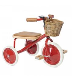 Banwood Trike Driewieler - Rood (incl. rieten mandje en duwstang)