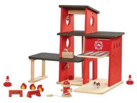 Plantoys Houten Brandweer Kazerne - Rood