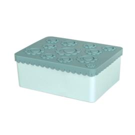 Blafre Lunchtrommel rechthoek Bloemen - Jade/Licht Blauw