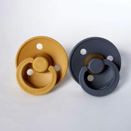 BIBS fopspenen Duoverpakking 6 - 18 maand - Mustard + Smoke