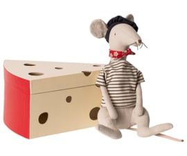 Maileg Rat in Cheese Box - Light Grey