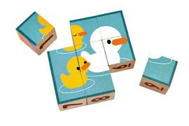 Plantoys Houten Puzzel Blokken - Puzzle Cubes