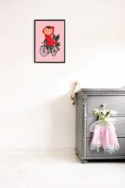 Kek Amsterdam Poster A2 - Fiep Westendorp Op de Fiets (roze) (PS-007) (op=op)
