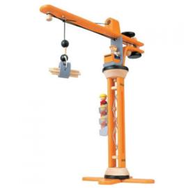 Plantoys Houten Hijskraan - Oranje