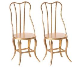 Maileg Vintage Poppenhuis Stoel - Vintage Chair Gold (set 2)