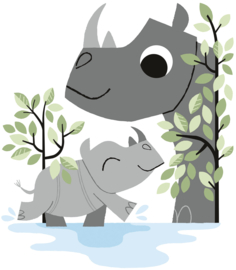 Lilipinso Hide and Seek Muursticker XL - Rhino Family