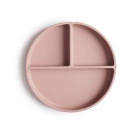 Mushie Siliconen Bord Rond 3-vaks - Blush