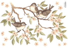 Lilipinso Oh Deer Muursticker A3 - Branch and Sparrows