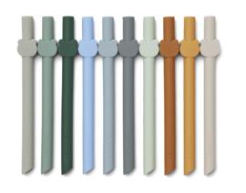 Liewood Badu Straw Set Siliconen Rietjes Animal - Blue Wave Multi Mix (set van 10)