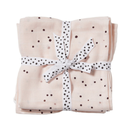 Done by Deer Spuugdoek Burp Cloth Dreamy Dots - Roze (set van 2)