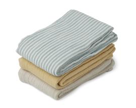 Liewood Line Muslin Cloth Hydrofiele Doeken - Blue Mix (set van 3)
