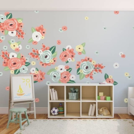 Urban Walls Muurstickers - Multicoloured Graphic Flowers (60 stickers)